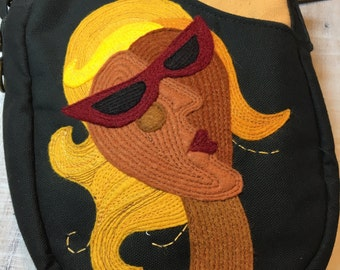 Wind In Your Hair Goddess In Sunglasses Zipper Top Oval Shoulder Bag