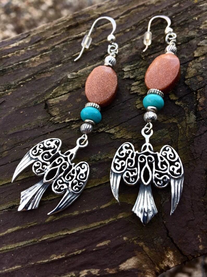 Sterling Silver Sunrise Ravens Dangling Earrings image 0