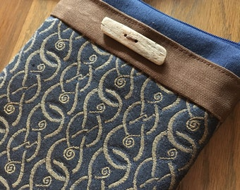 Zipper Top Navy Blue Sturdy Canvas Carry Case With Cross Body Strap
