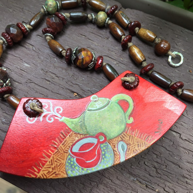 The Way Of Tea Hand Painted Wearable Artwork Necklace image 0