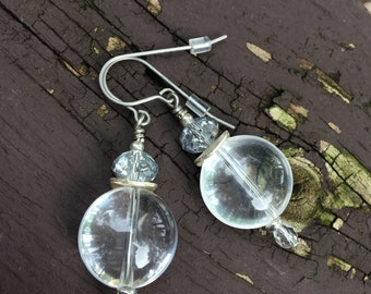 Quartz Crystal Stone With Sparkling Accent Earrings