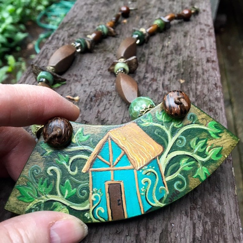 The Cottage Painted House Gemstone Knotted Cord Necklace image 0