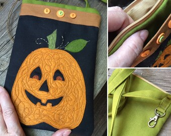 Colorful Halloween Pumpkin And Canvas Carry Case With Cross Body Strap