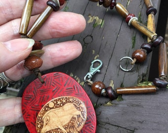 Gullinbursti Golden Bristles Pyrography Painted Pendand with Rich Stone, Bone and Wood Necklace