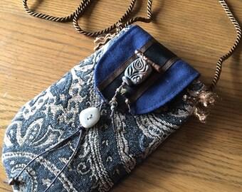 Zen Ceramic Beaded Necklace Pocket Smart Phone or Glasses Case