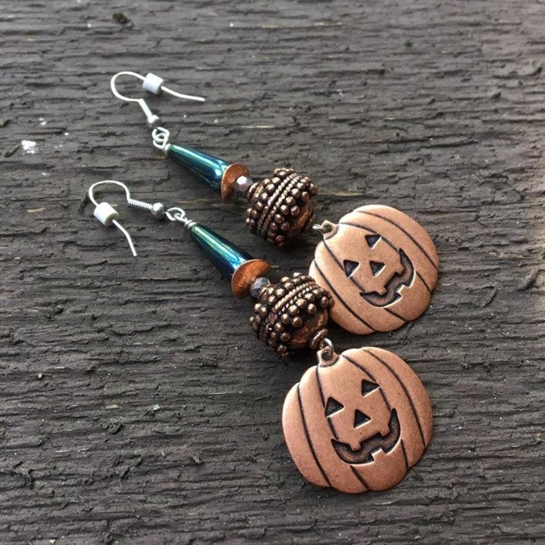 Copper Pumpkin Halloween Dangle Earrings image 0