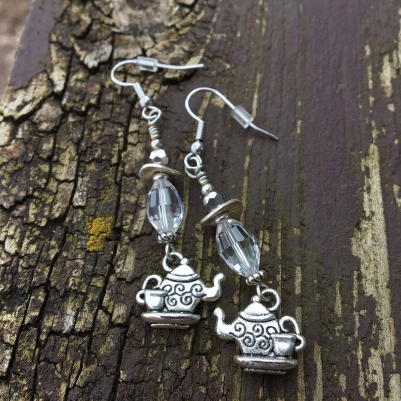 Crystal Brillance With Teapots Charms Dangle Earrings image 0