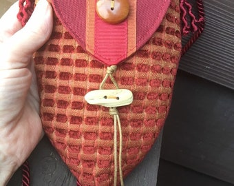 Red Necklace Pocket With Carved Wiiden Buttons