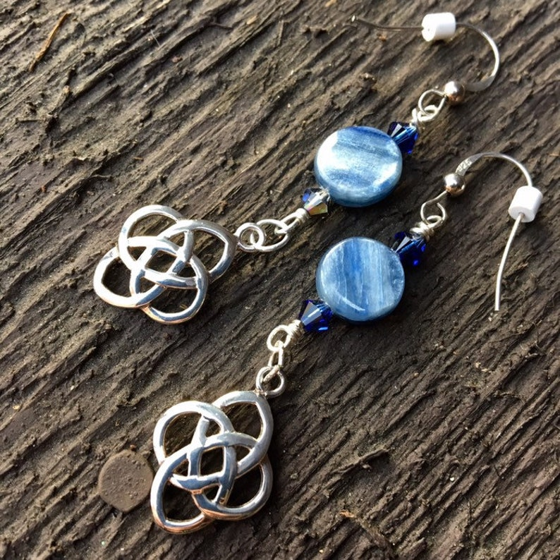 Blue Kyanite Sterling Silver Celtic Knot Dangle Earrings image 0