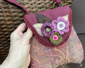 Small Paisley Flower Jeweled Tapestry Pocket with Cross Body Strap Cell Phone Case