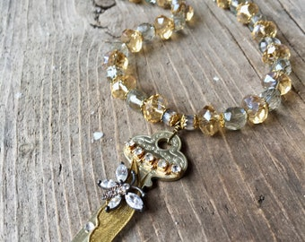 Sparkling Butterfly Assemblage Key Necklace With Facuted Czeck Beads and Rhinestones
