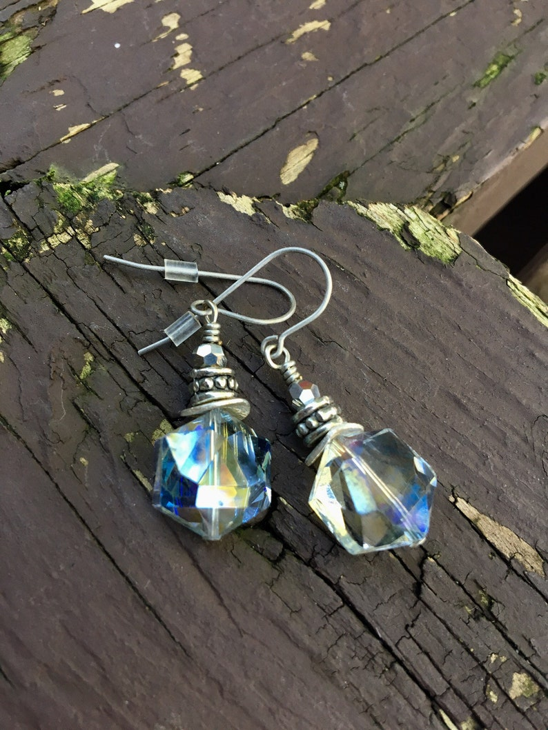 Petite Pale Blue Faced Sparking Earrings image 0