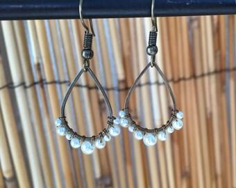 Small Varigated Pearl Teardrop Earrings
