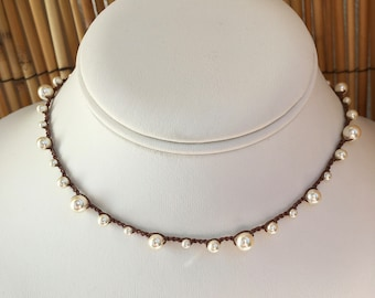 Mixed Cream Pearl Crochet Necklace