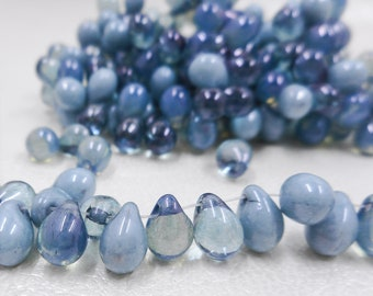 12 Strand Quantity Discount on Amethyst Colored Tiny Tims Czech Glass Bead Strands Purple Drop Beads