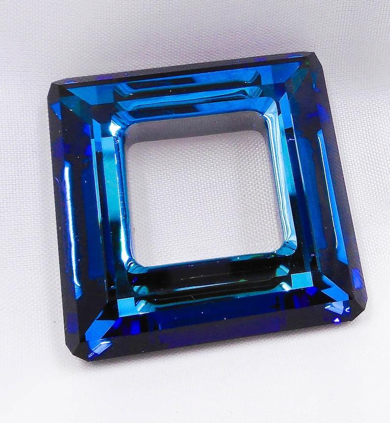 e8c4cdff4fa50 1 - 30mm Bermuda Blue Swarovski Crystal Square Ring, Article 4439, Bright  Blue Sparkly Faceted Genuine Swarovski Crystal, Rare! OOP!