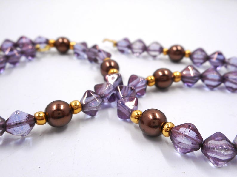 Unfinished Vintage Glass Bead Bracelet Needs Clasp Purple Luster Glass Bead Faux Pearl Partial Bracelet Segment Vintage Lustre Bead Bracelet