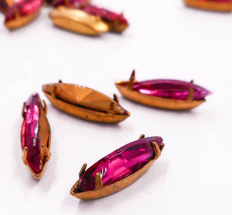 33db07d1d 11 Vintage Swarovski Crystal Rhinestones Fuchsia Pink Prong | Etsy