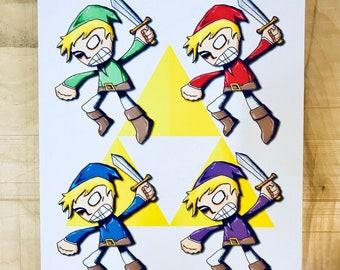 Legend of Zelda Link Art Print Nintendo Fanart Four Swords Adventure
