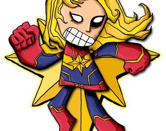 Captain Marvel Art Print Avengers Fanart Superhero Illustration