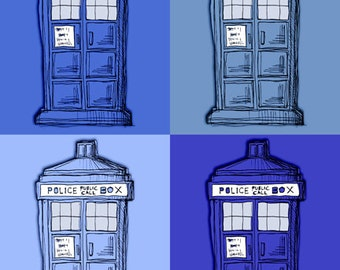 TARDIS Doctor Who Art Drawing Print Illustration