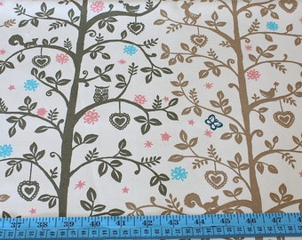 Japanese cotton fabric-trees, birds, deer and owls (half yard)