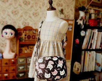 Japanese Handmade Shoulder Messenger Bag for girl and kids - Cats