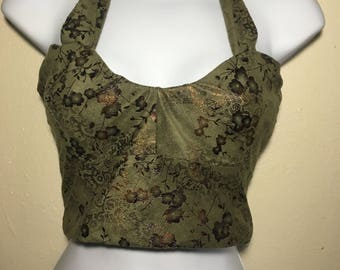 111382b61726d Upcycled Forest Green Faux Suede Halter Top w  lace up corset back