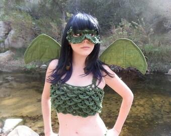 d50a77e00d3a3 Dragon Scale Top Green Crochet Forest Crop Top