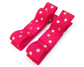 Hot Pink Hair Clips Gold Polka Dot Hair Clips Dark Pink Tuxedo Bows Gold Tuxedo Bows Baby Bows Baby Hair Clips Baby Girl Hair Clips Pink Bow