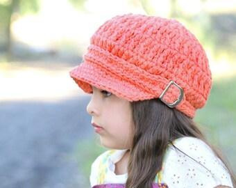 5 Sizes Tangerine Newsboy Hat Tangerine Hat Baby Newsboy Cap Baby Girl Baby Hat Toddler Newsboy Toddler Girl Toddler Hat Womens Newsboy