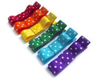 Rainbow Hair Clips Polka Dot Hair Clips Tuxedo Bows Baby Girl Hair Clips Baby Hair Clips Baby Bows Toddler Hair Clips Polka Dot Bows