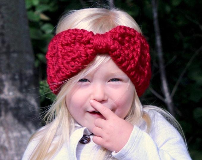 Toddler girl ear warmer 39 colors winter headband chunky crochet bow earwarmer warm cozy fall knit fashion autumn knitwear cranberry red