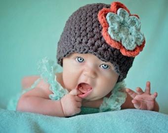 Baby girl hat gray tangerine aqua blue crochet flower hospital beanie for coming home outfit shower gift for her newborn - womens sizes