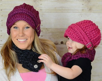 39 colors winter hat chunky crochet fall beanie with silver buckle warm cozy autumn knits unique gift for her baby girl toddler womens sizes
