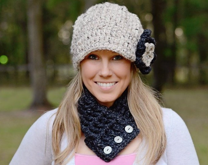 Woman's hat women's beanie unique gifts for her mom girlfriend warm fall winter hat chunky crochet flower knit cap oatmeal charcoal gray