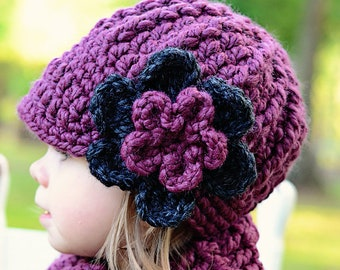 Toddler girl hat chunky crochet winter beanie knit flower warm cozy fall finds baby - womens sizes gift for her purple plum & charcoal gray