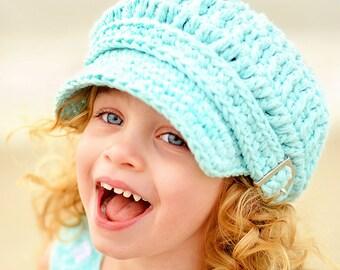 5 Sizes Aqua Blue Newsboy Hat Baby Newsboy Cap Toddler Newsboy Cap Girls Newsboy Womens Newsboy Baby Girl Hat Baby Hat Toddler Girl Hat Cute