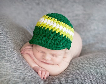 0e01aa622f4 9 Sizes Newborn Baby Toddler Boy Men s Emerald Green Lime and White Striped  Visor Beanie Cotton Hat Small Medium Large Sizes Gift for Him