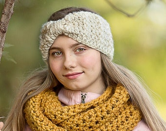 Womens ear warmer 39 colors winter headband chunky crochet knotted bow for baby toddler girls warm cozy fall knits ivory cream gold sparkle