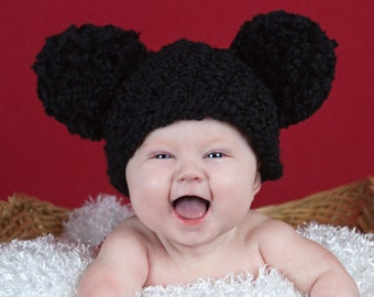 9 Sizes Pom Pom Hat Black Mouse Baby Hat Baby Girl Hat Toddler Hat Toddler Girl Hat Womens Hat Photo Prop Photography Prop Winter Hat Fun