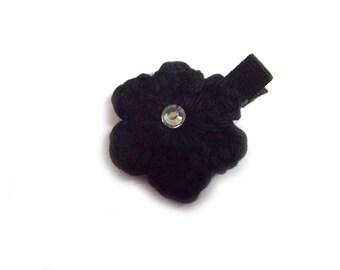 Black Hair Clip Crochet Flower Hair Clip Crochet Hair Clip Black Flower Baby Girl Hair Clip Baby Hair Clip Black Barrette Baby Barrette