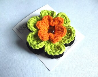 Halloween Hair Clip Crochet Flower Hair Clip Halloween Barrette Crochet Barrette Flower Barrette Orange Hair Clip Lime Green Hair Clip Black