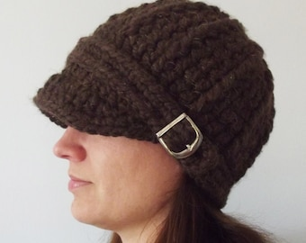 Womans hat LAST ONE chunky crochet womens beanie knit warm cozy fall finds winter knitwear unique gift for her dark brown wood ready to ship