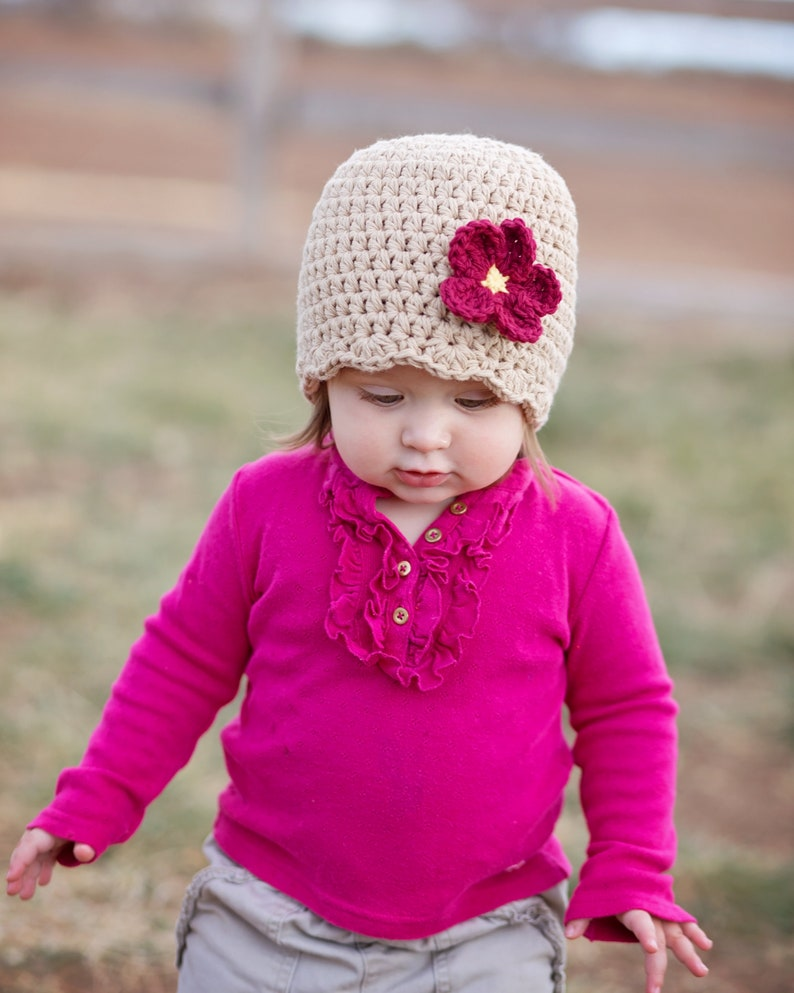32 Colors Custom 1T to 2T Toddler Girl Hat Crochet Flower Knit Flapper Beanie Spring Fall Autumn Winter Clothes and Clothing for Toddlers