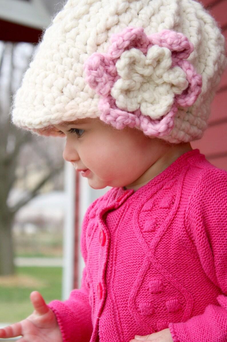 Baby girl flower hat cream /& pink chunky crochet hat winter beanie warm knit knitwear for fall autumn winter toddler girl women/'s sizes