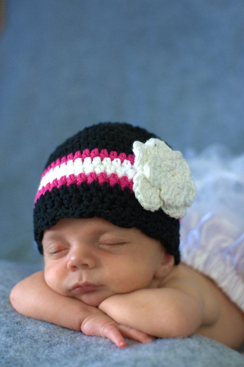 Baby girl hat black hot pink white crochet flower flapper beanie lightweight cotton newborn baby toddler girl/'s women/'s sizes fall winter
