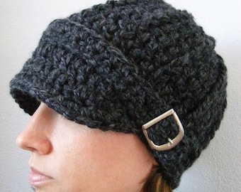 Womens hat 39 colors silver buckle womans chunky crochet winter cap knit fall accessories beanie unique gift for her dark charcoal gray grey