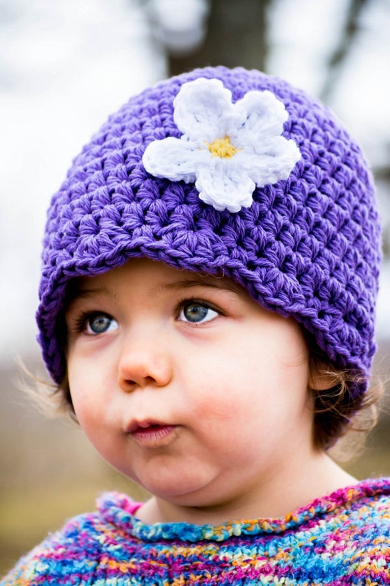 crochet flower hat 1T to 2T toddler girl hat Spring /& Easter photo prop purple toddler beanie fall autumn winter fashion