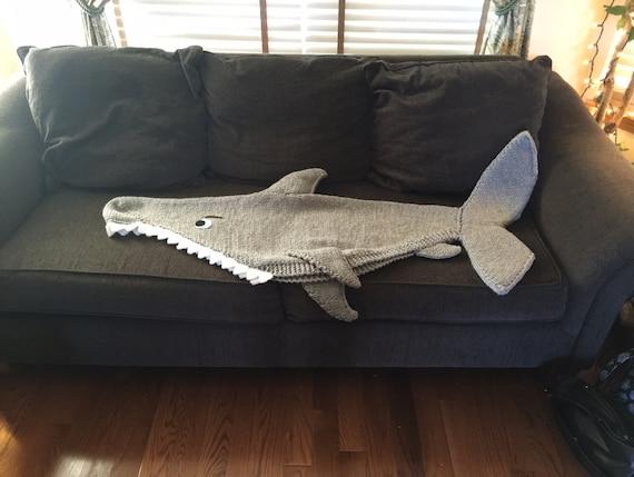 Shark Attack Lap Blanket Knitting Pattern Pdf 420 Etsy